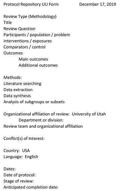 Protocol Registry of Evidence Reviews at the University of Utah