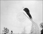 Frithjof (Bassie) Prydz ski jumping at Landes Hill, Alta, 1965.