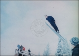 Frithjof Prydz ski jumping on Landes Hill, Alta, 1965.