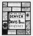 Advertisements in a window for grocery stores, restaurants, feed stores, pharmacies and other businesses circa 1920-1930s.