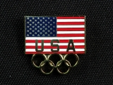 PIN, AMERICAN FLAG AND OLYMPIC RINGS