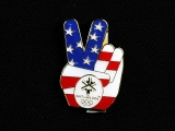 PIN, AMERICAN FLAG PEACE SIGN