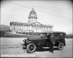 Lincoln Car at Capitol with Governor Mabey