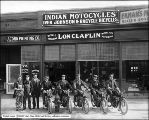 Group in Front of Store on Indian Motorcycles (Lon Claflin)