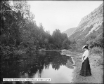 Provo Canyon, Stream Above Slick's, Woman and Bank