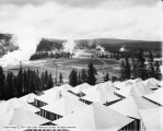 Yellowstone, Upper Basin Camp, Looking Over Tents Toward Old Faithful Inn