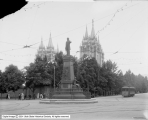Brigham Young Monument and Temple in Background