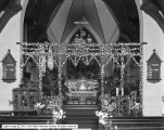 Altar at St. Mark's Church With Decorations For Wedding of Miss Wall (Colonel E. A. Wall)