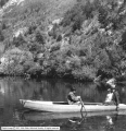 Bennett Glass and Paint, Mr. and Mrs. Bennett in Boat, Provo Canyon