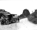 Lincoln Highway, Setting Guide Post in Parleys Canyon