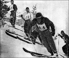 Alta Snow cup race, 1946.  L to R: Corey Engen (#43), Jim Huidekoper (#61), Johnny Fripp (#44,...
