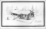1941 illustration by H.W. Coughlan of the Forest Service plan for the Snow Basin base shelter.
