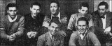 The first University of Utah ski team, January 3, 1947.  Front row, L to R: Dick Movitz and Bill...