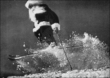 """And who says Santa can't ski?""  Circa mid 1940s."