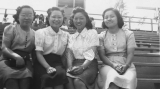 Sachiko Ikegami, May Oike, May Matsuda, and Eiko Kimura at a church picnic at Lagoon during the...