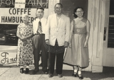 Mrs. Murakami, Yoshio Murakami, Mr. Yutaka Doi, and Helen Doi outside the Aloha Fountain.