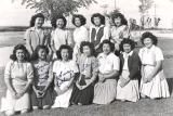 "1944 Area ""B"" Championship Softball Team in Hunt, Idaho.  Front Row:  Sumi Niiya, Hiro..."