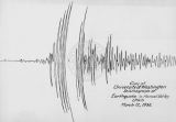 Copy of an University of Washington seismograph reading of an earthquake in Hansel Valley, Utah.