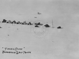 "Aerial view of the ""Timing Camp"" on the Bonneville Salt Flats Raceway circa 1920s-1930s."