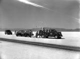 "Ab Jenkins' racing vehicle the ""Mormon Meteor"" on the Bonneville Salt Flats Raceway..."