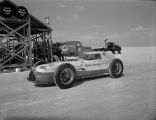 "Ab Jenkins' Novi ""Mobil Special"" racing vehicle on the Bonneville Salt Flats Raceway in..."