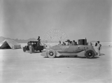 "Ab Jenkins' racing vehicle the ""Mormon Meteor"" being filmed on the Bonneville Salt Flats..."