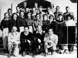 Group portrait of the 1948 Olympic Downhill and Slalom Ski Team in July of 1947.  Front row L to...
