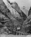 Woodcut depicts early canyon transportation