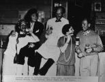 Costume party @ Rustlers Lodge , L-R: unidentified, Maxine Morton, Chic Morton, Emile Segil and...