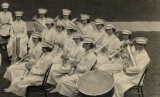 Back Row: Thora Parker at Snare Drum but played baritone.  Weltha Wilson - Bass; Florence Van...