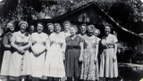 Band Reunion of 1955 at the home of Tirza B. Ross in Ogden Canyon.  Dot, Coelin, LaVon, Flora,...