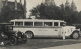 [Automobiles and bus at Temple Square, Circa 1920s.]