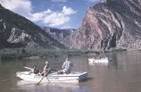 Mexican Hat Expeditions boats just above head of Split Mountain Canyon, Green River.  Frank Wright...