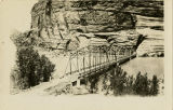 Original steel bridge across the Colorado River and Moab, Utah, 1916.