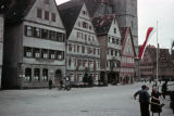 Buildings at the Dinkelsbuhl Weinmarkt (Winemarket) including the tower gate at the right;