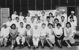 68 Mess Hall workers at the Tule Lake Internment camp.  Florence Nishijima Hanagata, second row,...