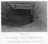 "(Fig. 12) ""West drift - Full width 16½ ft. [at] Bonanza Mine (before 1945 fire)."""