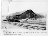"(Fig. 16.) ""Ore from American Asphalt Association Mines awaiting shipment at Dragon,..."