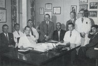 "Maxwell Wintrobe, MD with ""The Quorum"" at the Salt Lake County General Hospital, 1956"
