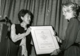 1983 National Travel Marketing Award presentation. Handed to Patty Hobson by Bunny Grossinger.