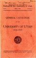 1918-19 General Catalog; University of Utah catalogue; (Catalog)