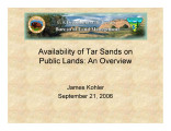 Availability of tar sands on public land: An overview