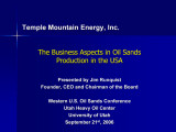 Business aspects in oil sands production in the USA