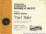 Utah State Historical Society Service Award to Pearl Baker