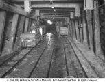 Tracks and cars in a mine
