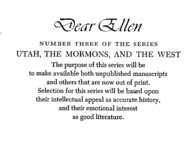 Dear Ellen: Two Mormon Women and Their Letters