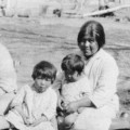 Mary Napolean, Catherine Parashonts, and three children; Cedar City, Iron County, Utah