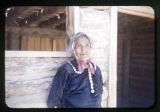 A Navajo woman.  Mrs. Mustache at the log chapel;
