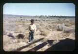 A Navajo boy standing outside.  (A herder in lush grazing land)