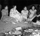 Navajo youngsters at a campfire